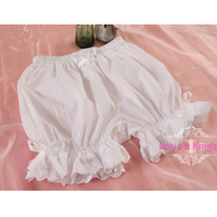 Girls Sweet Cute Black/White Ruffle Lace Safety Short Pants Lolita Bloomers Pumpkin Shorts