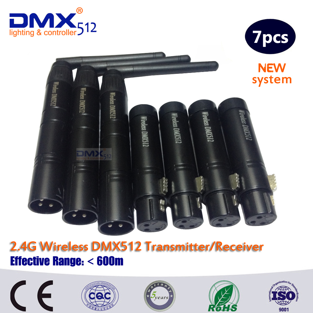 Colornie Hot Sale 7pcs/lot  Wireless DMX Plug  2.4G Wireless Dmx Transmitter And Receiver