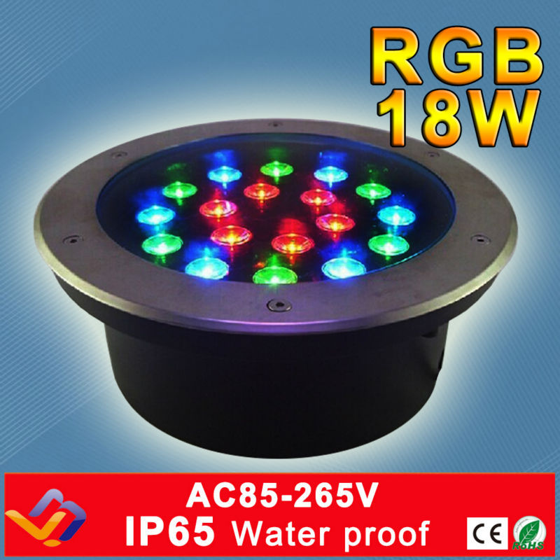 RGB LED Underground Light 18W AC110V 220V Multi Color IP65 CE Rohs Approved Garden Square Stage