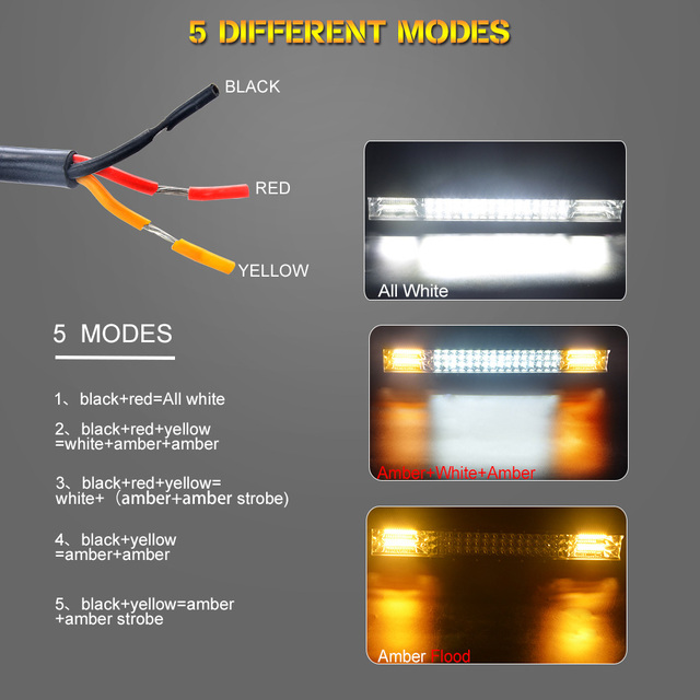 Offroad LED Light Bar Double Color 20 Inch