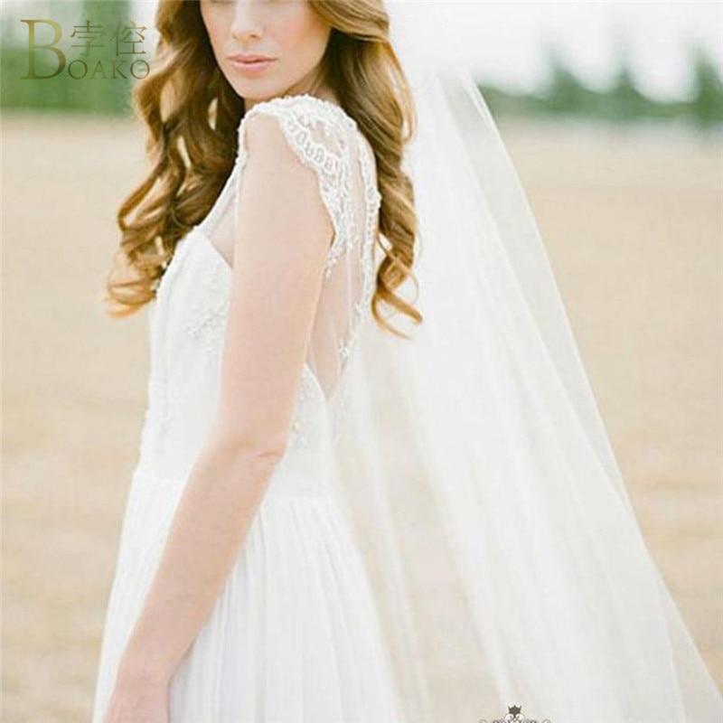 BOAKO Real Photos 2M White/Ivory Wedding Veils One-layer Long Bridal Veil With Comb Head Veil Wedding Accessories Velos De Novia