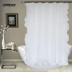 UFRIDAY biała koronkowa zasłona prysznicowa wanna zasłona do łazienki wodoodporna odporna na pleśń poliestrowa wanna kurtyna elegancka dekoracja wnętrz