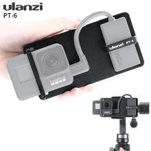 Ulanzi PT 6 switch placa de montagem para gopro hero 7 6 5, suporte fixo w espaço para adaptador de áudio para dji zhiyun moza telefone cardan