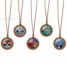 Family Tree of Life Cabochon Glass Wood Pendant Women Wooden Necklace Art Jewelry Wax Rope Chain Necklaces Gift
