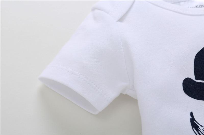 0-18M Newborn Baby Boy Rompers Baby Clothes Cotton Newborn Clothes Summer Unisex Infant Jumpsuit Moustache Hat Playsuit