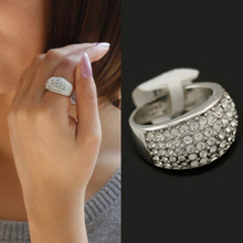 Wholesale Ball Shaped Sliver Plated Ring Jewelry Full Austrian Crystal Ring