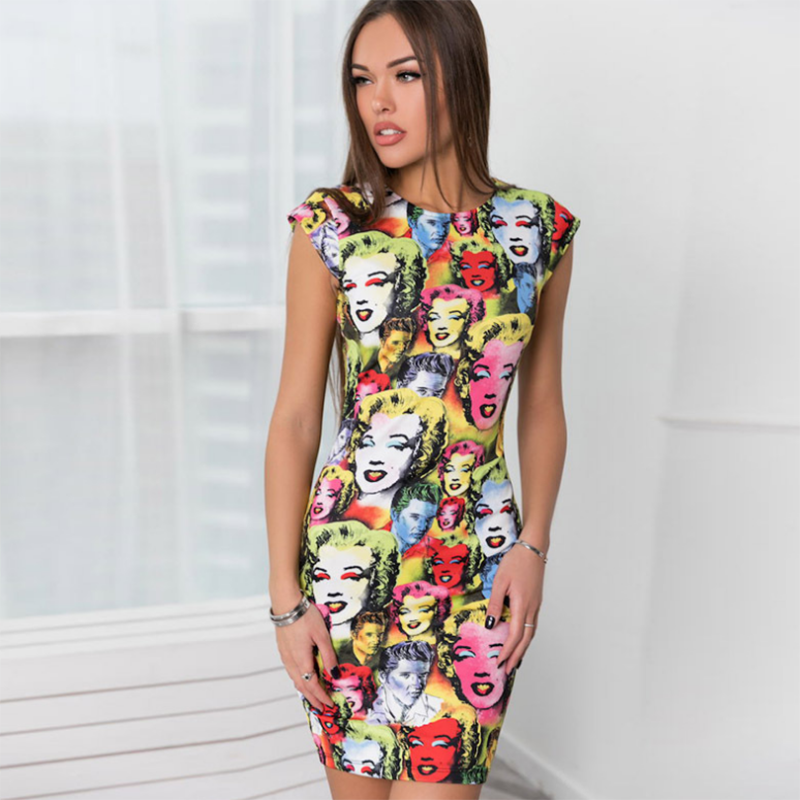 2018 Fashion Women Character Printing Vintage Pencil Dress Summer Sleeveless Marilyn Monroe Sexy Short Dresses