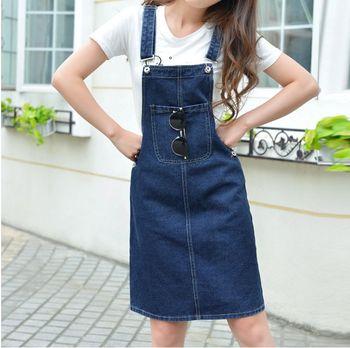 2017 moda damska kombinezon na szelkach spódniczki dżinsowe Slim Midi dżinsy spódnice kobieta bawełniane niebieskie szelki spódnica Denim G041102