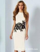 2018 Letnia Sukienka Kobiety Moda Elegancka Sukienka Elastyczna Szczupła Biały Floral Sukienka bez rękawów Pakiet hip Klub Sukienek Vestidos