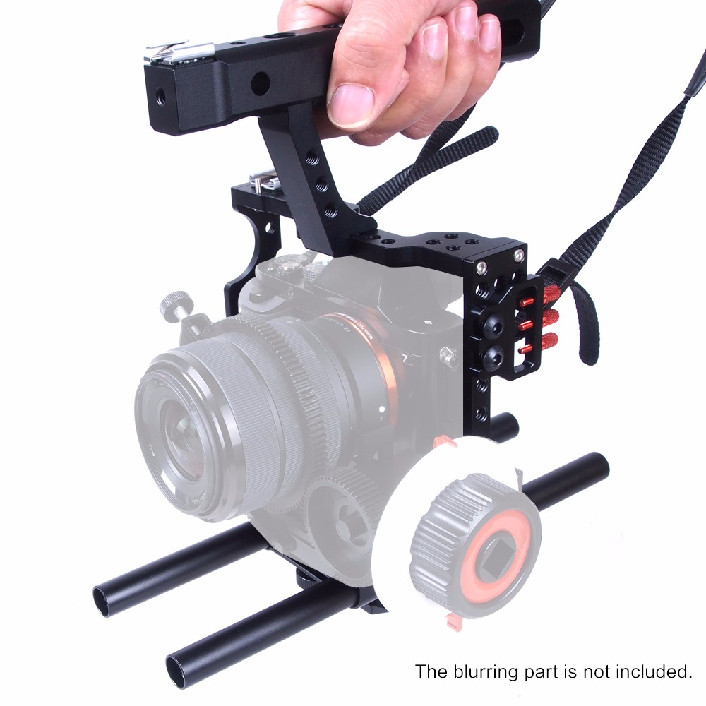 DSLR Rod Rig Camera Video Cage Kit & Handle Grip Video Stabilizer Shoulder Mount Rig For Sony A7 A7r A7s II A6300 GH4