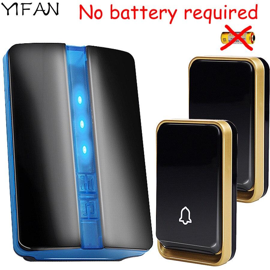 YIFAN Auto-alimenté Sans Fil Sonnette PAS de batterie Étanche UE Plug led lumière 150 M longue portée Porte carillon 2 bouton 1 récepteur