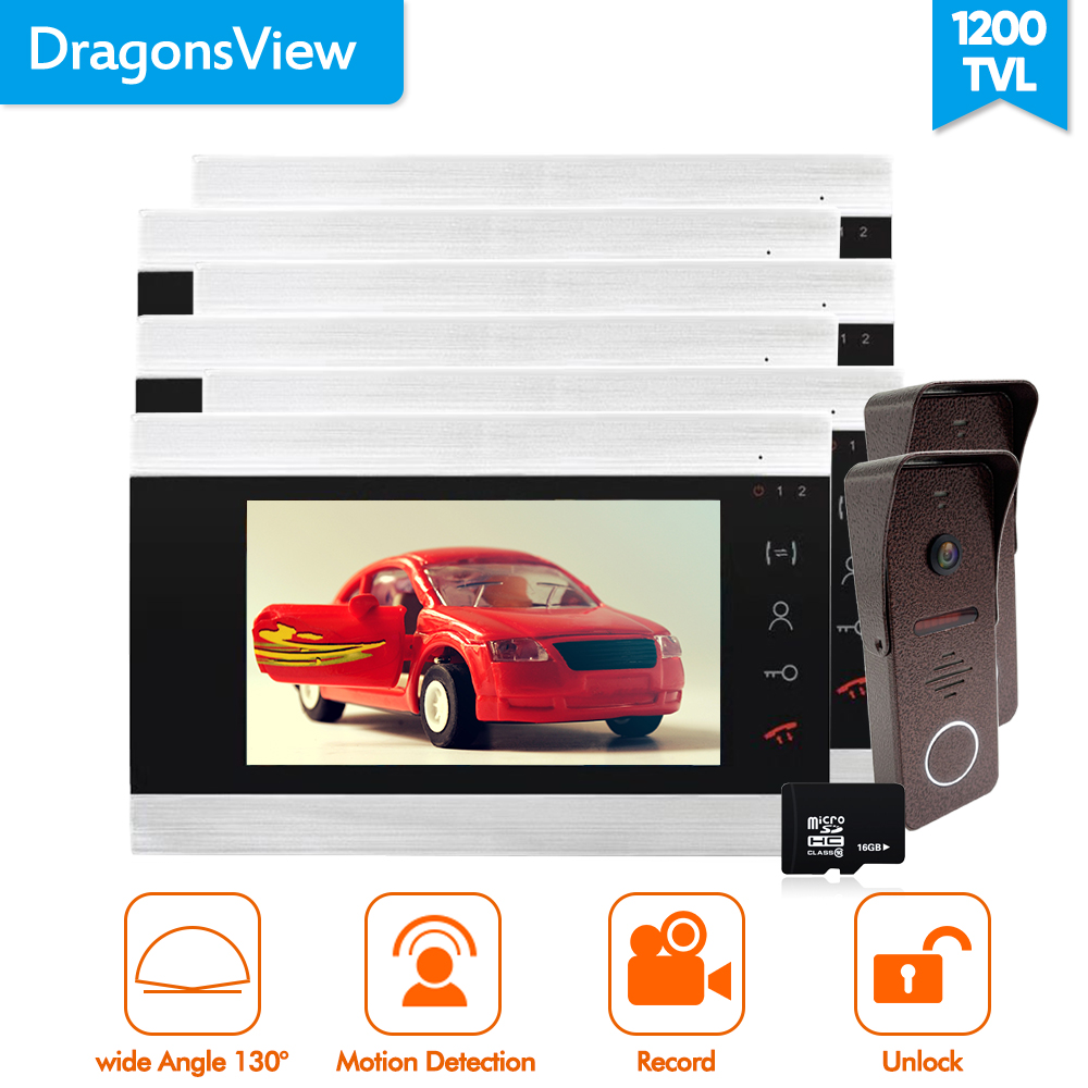 Dragonsview 7 Inch Video Doorbell Phone System 2/3/4/5/6 Monitors  2 Outdoor Doorbell Camera Wide Angle 2.3mm Lens 130 Degree