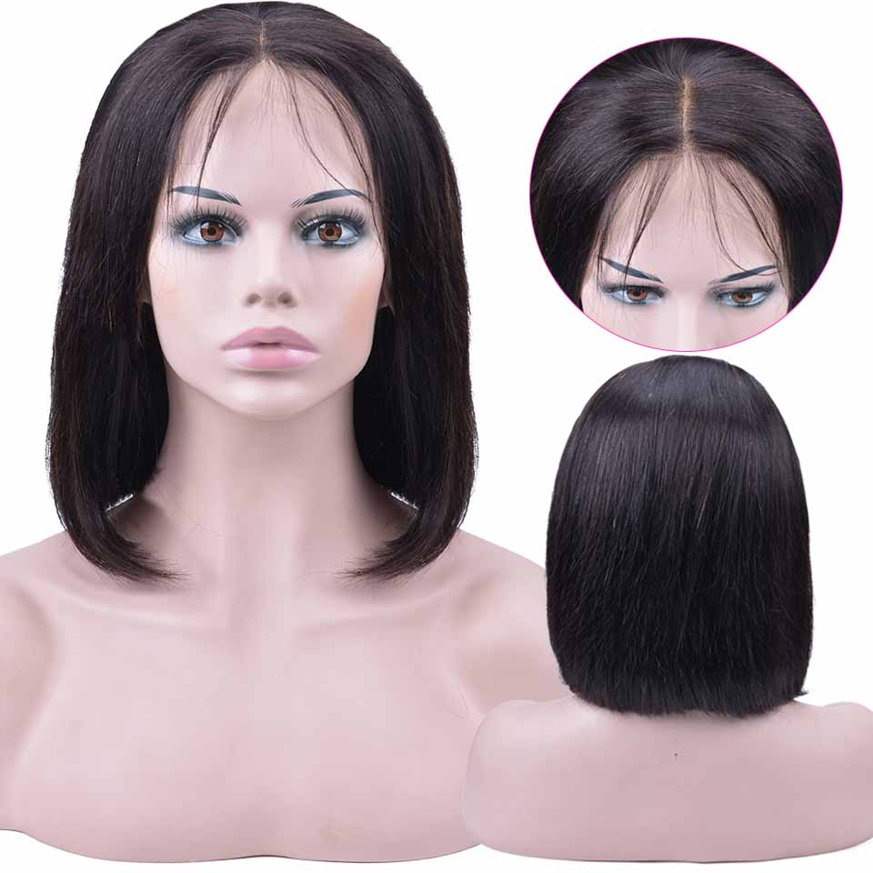 Short Lace Front Human Hair Wigs Brazilian Bob Wig with Pre Plucked Hairline Lace Wig For