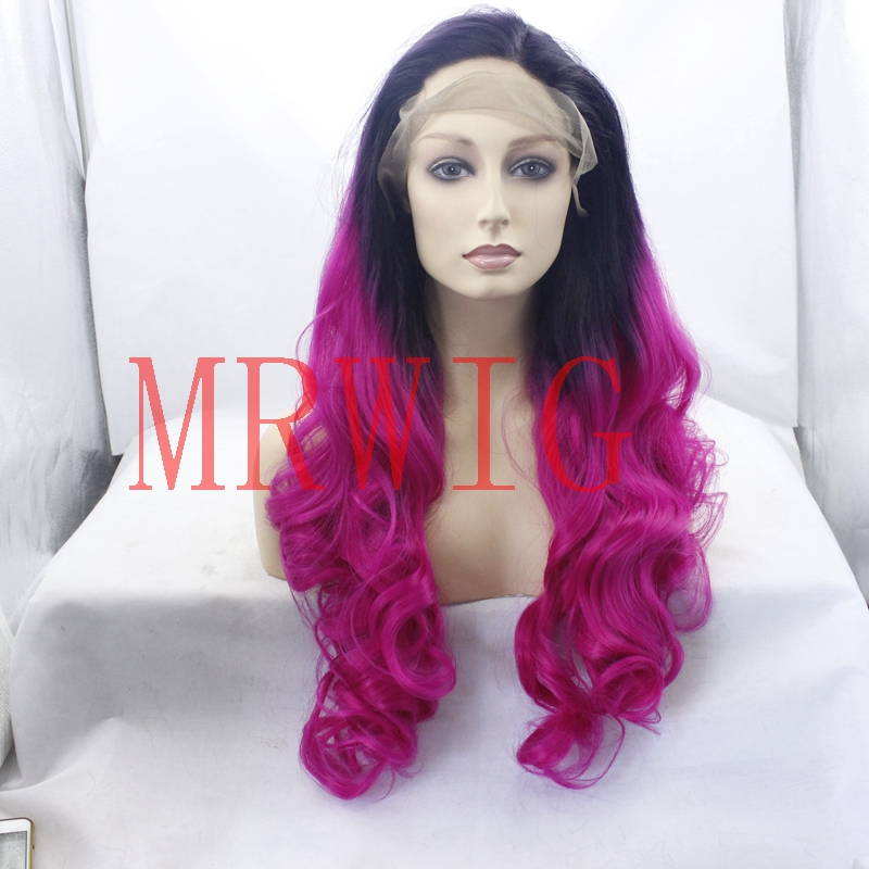 MRWIG Hair Natural Wave Long High Temperature Fiber Ombre 1b#/Rose Pink Left Side Part Front Lace Wig Glueless