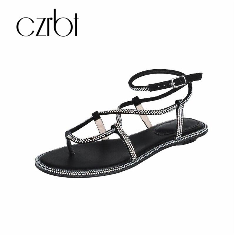 CZRBT/2019 г. модные бусины, пикантные кожаные женские сандалии ручной работы, Нескользящие удобные красивые женские босоножки на плоской подош... - 2