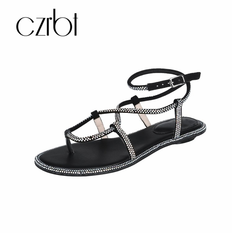 CZRBT 2019 Trendy Beads Decorative Sexy Leather Ladies Sandals Hand made Non slip Comfortable Cool Flat heeled Ladies Sandals - 2