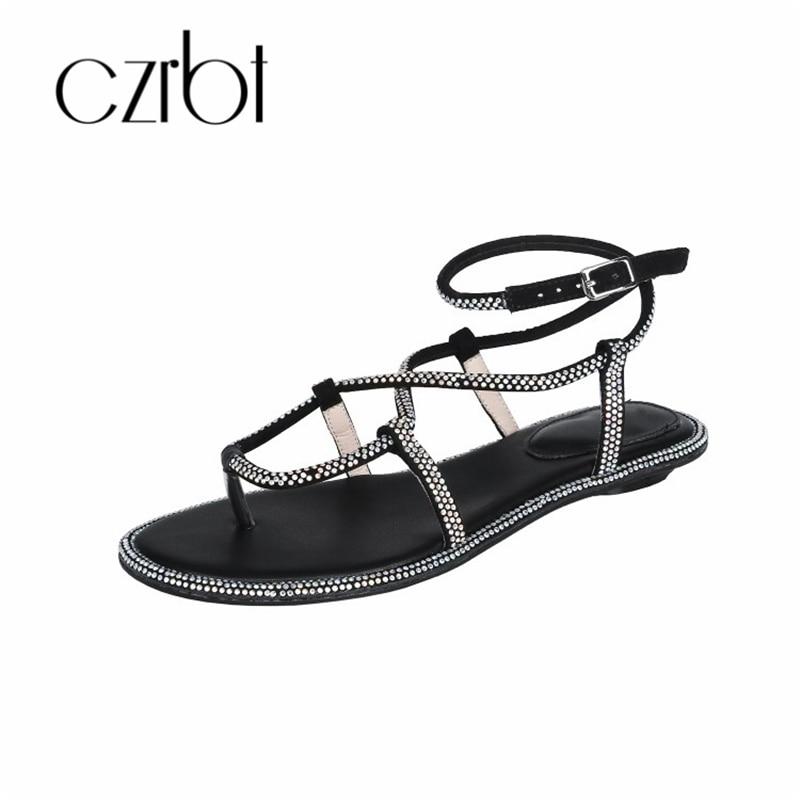 CZRBT 2019 Trendy Kralen Decoratieve Sexy Lederen Dames Sandalen handgemaakte Non slip Comfortabele Koele Platte hakken dames Sandalen - 2