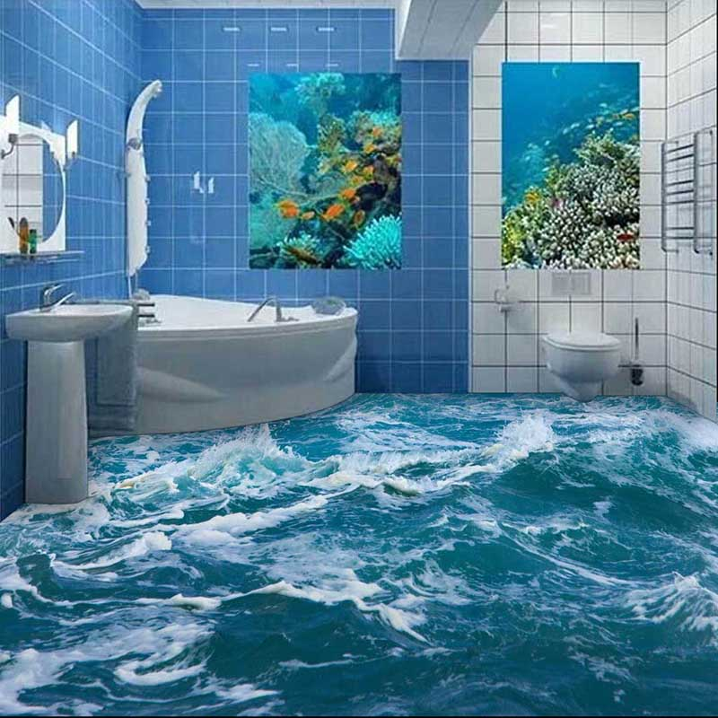 цены HD PVC Floor Wallpaper 3D Ocean Bathroom Living Room Floor Painting Self-adhesive Mural Wallpaper wear-resisting waterproof #150