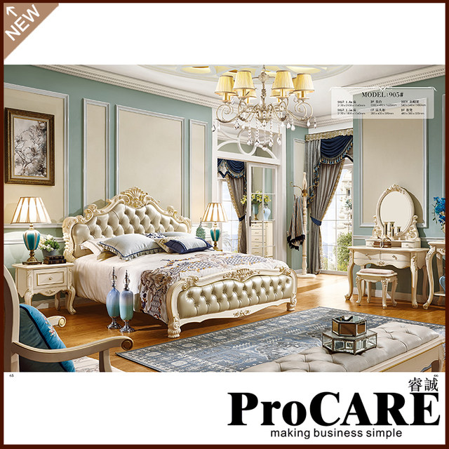 Luxury Classic King Size Wood Royal French Style Barocco Bedroom Furniture  Set