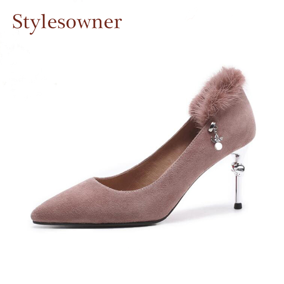 Фотография Stylesowner elegant lady pointed toe shallow mouth pumps women back fur decor pearl metal stiletto heel party shoes mujer zapato