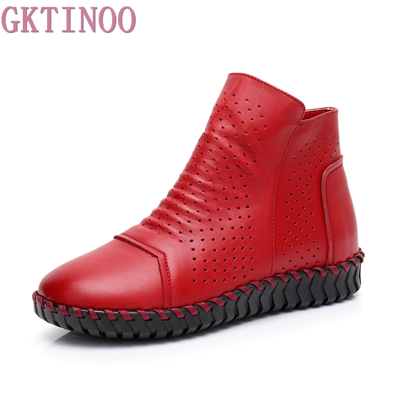 GKTINOO Women Boots Genuine Leather Ankle Boots Hollow Summer Boots Chaussures Femme Comfortable Flat Women Shoes Large Size