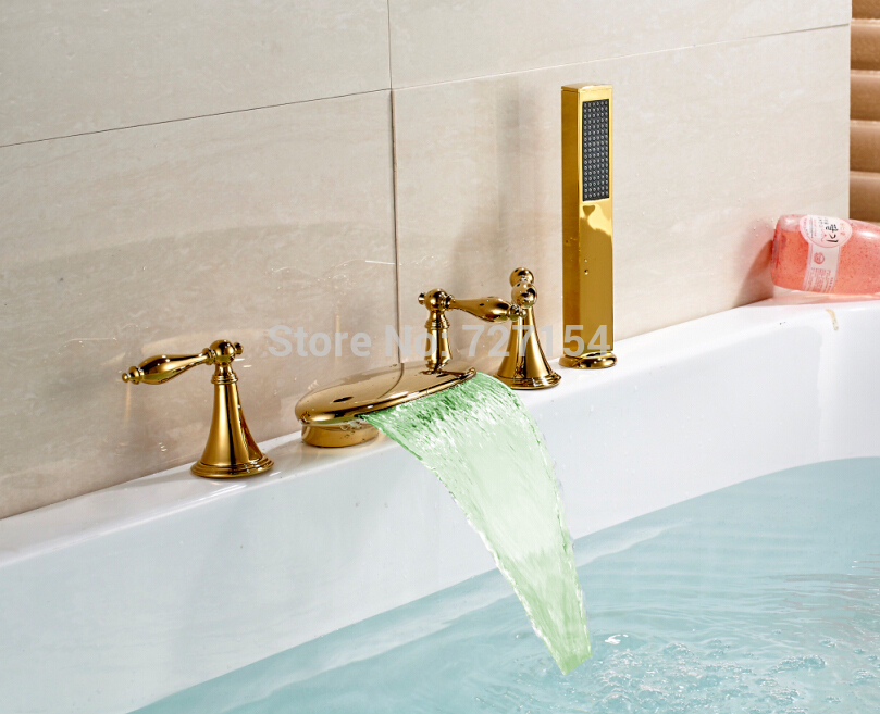 Free shipping! Modern LED Color Changing Bathroom Tub Faucet Waterfall Spout With Hand Shower
