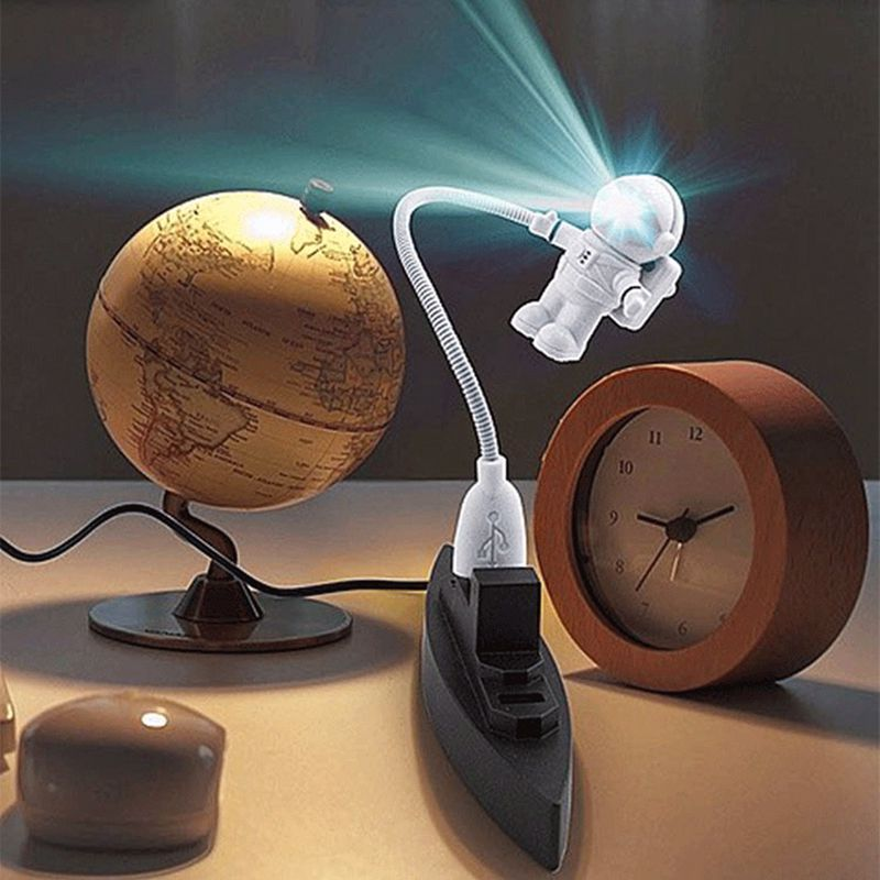 New Mini White Flexible Spaceman Astronaut USB Tube LED Night Light Lamp For Computer Laptop PC Notebook Reading Portable DC 5V