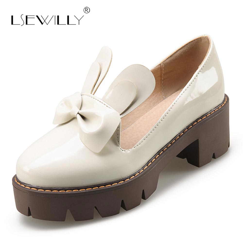 Lsewilly 2018 Autumn Women Oxfords Shoes Black Dress Shoes Women Thick High Heel Platform Causal Shoes Round Toe Pumps S380