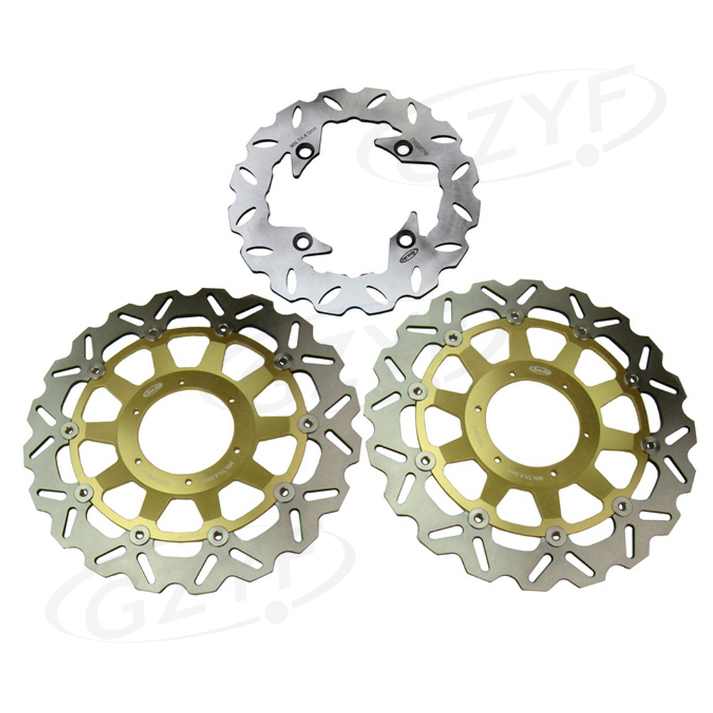 Motorcycle Front Rear Brake Disc Rotors Set for Honda CBR929RR 2000-2001 & CBR954RR 2002-2003 Floating Disks Gold arashi 1pair cbr600f 1999 2000 cnc front brake disc brake rotors for honda cbr f 600 cbr600 f 1999 2000