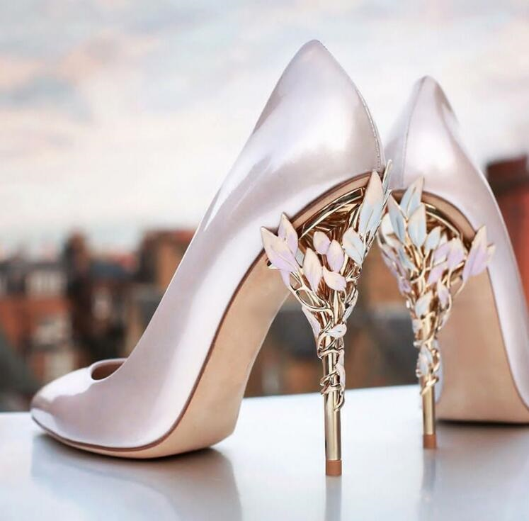 Pumps Women Shoes Metal Heel Wedding Gold-Leaves High-Heels Pink Sandals Stiletto Pointed-Toe