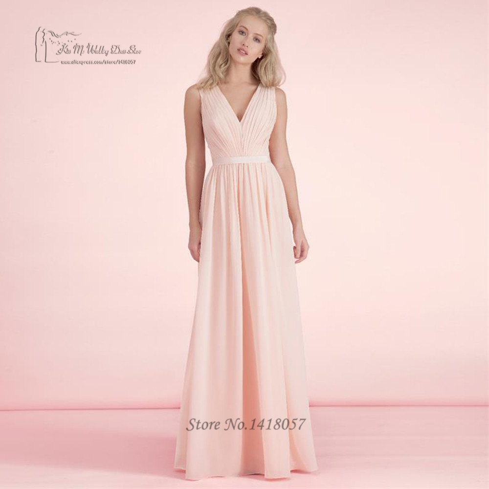 Blush Pink Bridesmaid Dresses Long Plus Size Vintage Cheap Wedding ...