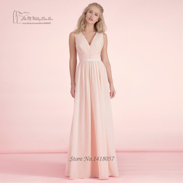 Blush Pink Bridesmaid Dresses Long Plus Size Vintage Cheap Wedding