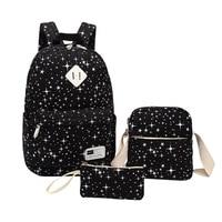 3Pcs Sets Womens Backpacks Canvas Print School Book Bags Computer Backpack Women Student Bag DSLR Camera