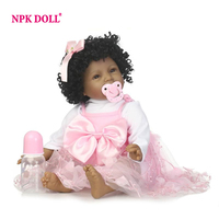 NPK 22 Silicone Vinyl Reborn Baby Doll Soft Lifelike Curly Hair Black Girl Toddle Bonecas Handmade