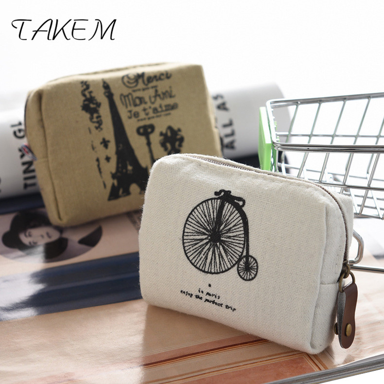 TAKEM 2018New landscape Print coin purse printing wallet square Zipper coins bag wallet pouch Short Holder Vintage wallet thinkthendo 3 color retro women lady purse zipper small wallet coin key holder case pouch bag new design