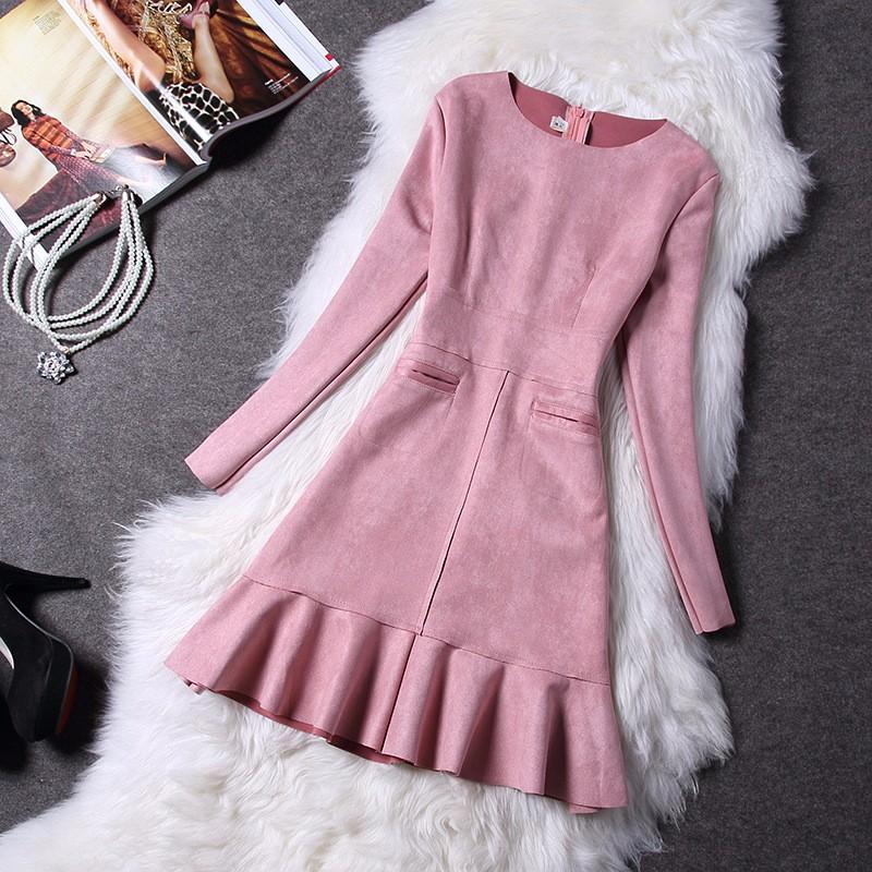 O-Neck Long Sleeve Suede Mini Dress 6