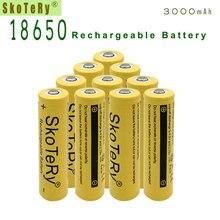 12pcs SkoTeRy Yellow 3000mah 18650 Battery 3.7V Rechargeable Li-ion for Led Flashlight Toys Cameras Wholesale