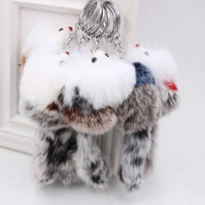 1 Pc 2019 Linda cor aleatória Telefone Pingente Agradável Cor Aleatória Keychain Bonito Do Luxuoso Do Falso Fox Fur Bolsa chaveiro De Pelúcia