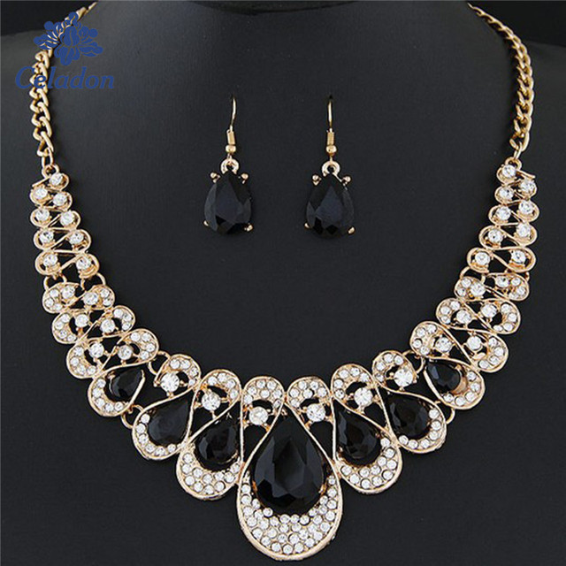 Wedding Bridal Jewelry Sets Rhinestone Crystal Jewelry Set Necklace  Earrings Set Vintage Accessories