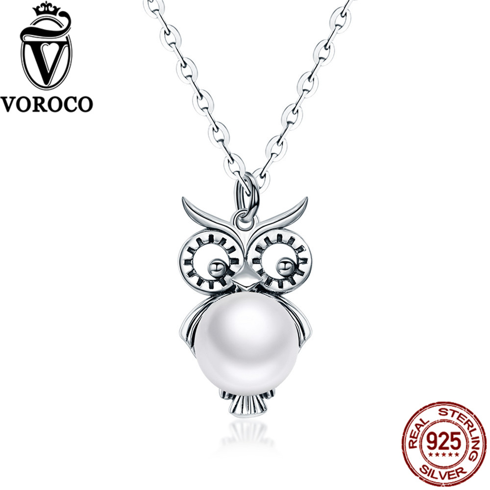 VOROCO 100% 925 Sterling Silver Natural Freshwater Pearls Cute Owl Pendants Necklace For Women Wedding Fine Jewelry