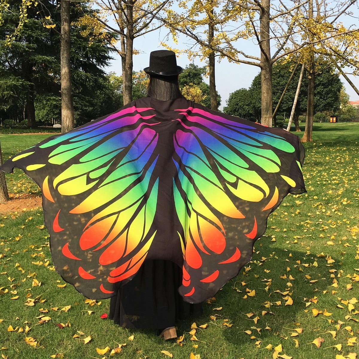 Belly Dance Butterfly Cloak Wing Butterfly Style Wing Belly Dancing Practice Butterfly Wings Butterfly Beach Skirt 197*130 Cm