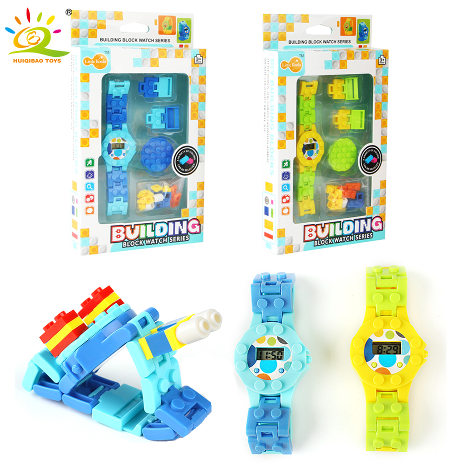 Digital Watch Building Blocks Baseplate Enlighten Bricks Compatible Legoed Small Bricks Base Figures Watch Toy For Children Gift engineering excavator vehicles bulldozer model building blocks compatible legoed city construction enlighten bricks children toy