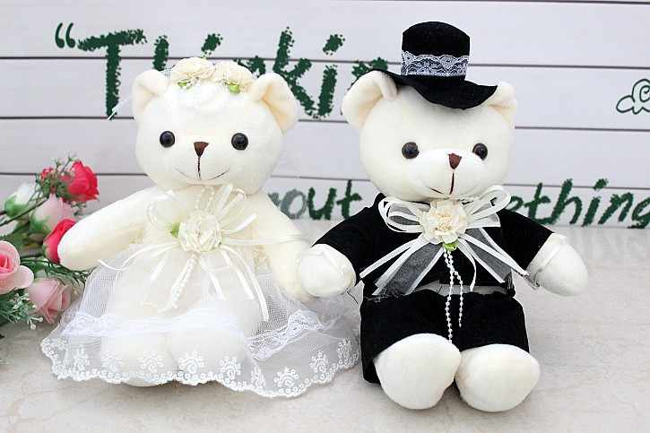a pair of cute small wedding dress couples happy bear doll car doll bed doll  wedding gift about 20cm