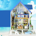 Home Decoration Crafts DIY Doll House Wooden Doll Houses Miniature DIY dollhouse Furniture Kit Room LED Lights Gift
