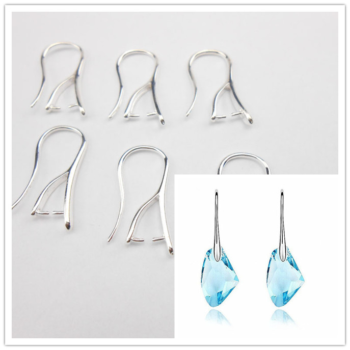 Free 10PCS More Choice Wholesale Silver Earrings Jewelry Accessories DIY Crafts Cufflinks Earrings Hook Crystal Cubic Zirconi