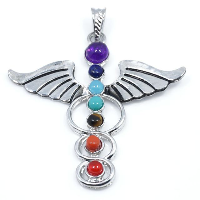 Angels wing reiki chakra pendant 7 chakra stones natural stone angels wing reiki chakra pendant 7 chakra stones natural stone pendant tree of life semi precious mozeypictures Images
