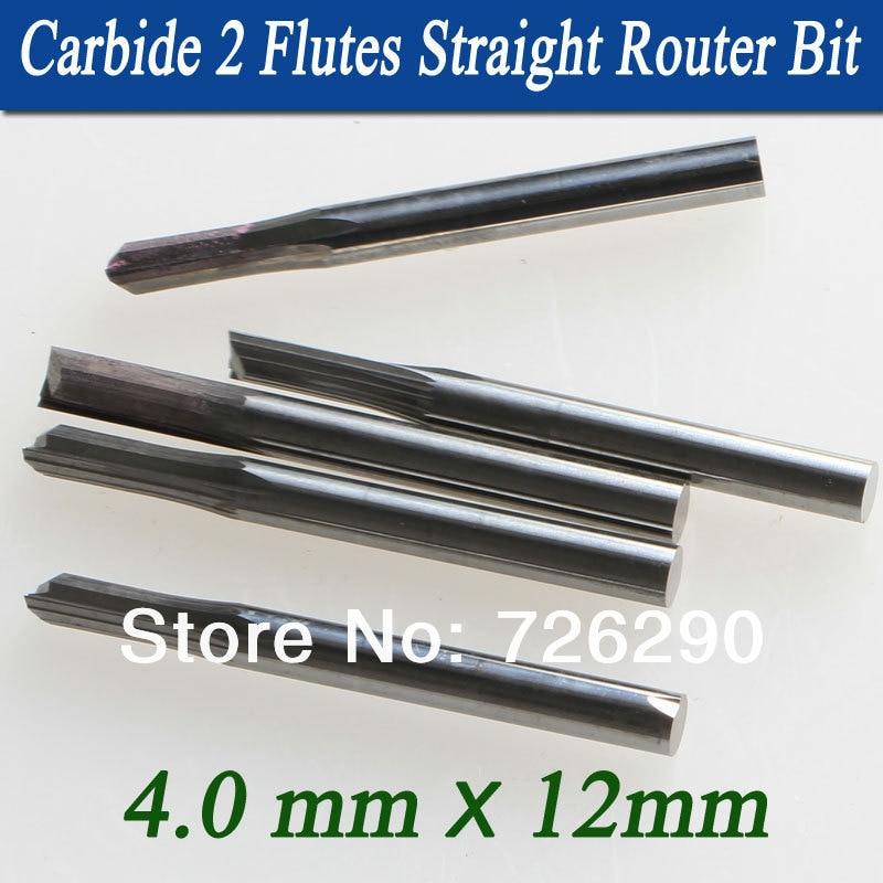 5pcs 4.0 * 12mm 2 flauti fresa diritta, punte del router di legno, - Macchine utensili e accessori - Fotografia 2