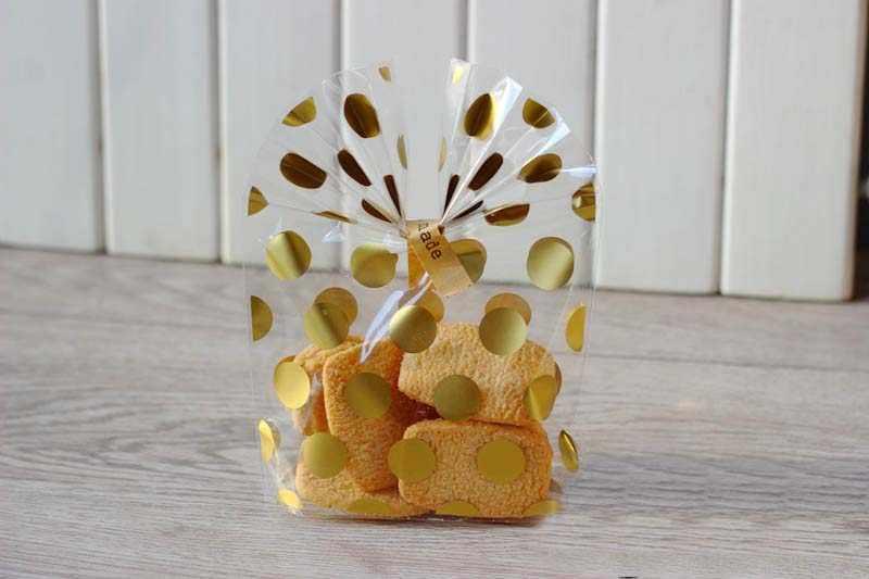 20 cái/bộ Vàng Nóng Chấm bi Cookie Gói Tặng Túi Đựng Kẹo Bao Cưới Sinh Nhật Transparen Cellophane Tặng Túi