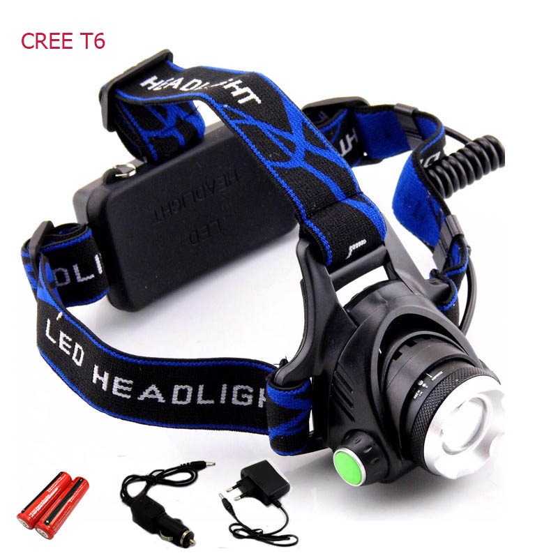 Rechargeable CREE XML T6 2000Lumens Zoom Head Lamp torch LED Headlamp + 18650 Battery Headlight Flashlight Lantern night fishing