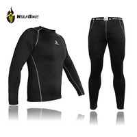 WOLFBIKE Mens Cycling Underwear Compression Base Layer Sport Cycling Winter Thermal Long Sleeve Outdoor Sports Underwear Sets